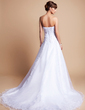 A-Line/Princess Strapless Chapel Train Satin Organza Wedding Dress With Ruffle Lace Beading (002012659)