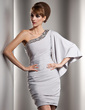 Sheath/Column One-Shoulder Short/Mini Jersey Cocktail Dress With Ruffle Beading (016008908)