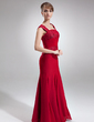 Trumpet/Mermaid Square Neckline Floor-Length Chiffon Lace Mother of the Bride Dress With Ruffle Beading (008006012)