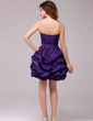 A-Line/Princess Sweetheart Short/Mini Taffeta Cocktail Dress With Ruffle Beading (016013963)