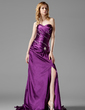 A-Line/Princess Sweetheart Court Train Charmeuse Prom Dress With Ruffle Beading Split Front (018022507)