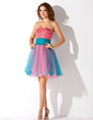 A-Line/Princess Sweetheart Short/Mini Tulle Homecoming Dress With Ruffle Beading (022013853)