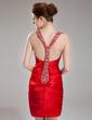 Wąska Kochanie Krótka/Mini Charmeuse Sukienka na Zjazd Absolwentów Z Żabot Perełki Cekiny (022003370)