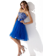 A-Lijn/Prinses Sweetheart Knie-Lengte Tule Schoolgala Jurk met Roes Kant Kraalwerk (022010414)