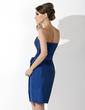 Sheath/Column Strapless Knee-Length Taffeta Mother of the Bride Dress With Ruffle Flower(s) (008006221)