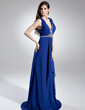 A-Line/Princess V-neck Sweep Train Chiffon Evening Dress With Ruffle Sequins (008015728)