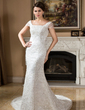 Trumpet/Mermaid Square Neckline Court Train Lace Wedding Dress With Beading Sequins (002000257)