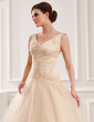 Ball-Gown V-neck Chapel Train Tulle Wedding Dress With Lace Beading (002012825)