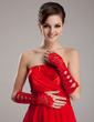 Elastic Satin Elbow Length Bridal Gloves (014020466)