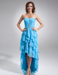 A-Line/Princess Sweetheart Asymmetrical Chiffon Prom Dress With Beading Cascading Ruffles (018021020)