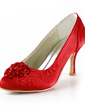 Women's Satin Stiletto Heel Closed Toe Pumps With Satin Flower (047016606)