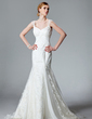 Trumpet/Mermaid V-neck Chapel Train Lace Wedding Dress With Ruffle (002000128)