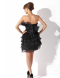 Sheath/Column Scalloped Neck Short/Mini Organza Cocktail Dress With Ruffle Beading (016008258)