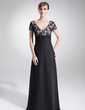 A-Line/Princess V-neck Floor-Length Chiffon Charmeuse Lace Mother of the Bride Dress With Ruffle Beading (008005673)