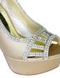 Women's Satin Stiletto Heel Peep Toe Platform Pumps Sandals With Rhinestone (047057142)