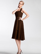 Empire Halter Knee-Length Chiffon Bridesmaid Dress With Ruffle (007005192)