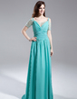 A-Line/Princess Off-the-Shoulder Sweep Train Chiffon Prom Dress With Ruffle Beading (018015896)