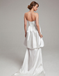 Sheath/Column Sweetheart Court Train Charmeuse Wedding Dress With Ruffle Beading (002004487)