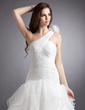 Ball-Gown One-Shoulder Chapel Train Organza Wedding Dress With Flower(s) Cascading Ruffles Pleated (002000622)