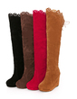 Suede Wedge Heel Over The Knee Boots Snow Boots With Ruffles shoes (088036914)