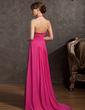 A-Line/Princess Halter Sweep Train Chiffon Prom Dress With Ruffle Beading Split Front (018014863)