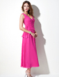 A-Line/Princess V-neck Tea-Length Chiffon Bridesmaid Dress With Ruffle (007001120)