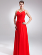 A-Line/Princess V-neck Floor-Length Chiffon Bridesmaid Dress With Ruffle (007001576)