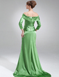 A-Line/Princess Off-the-Shoulder Court Train Charmeuse Mother of the Bride Dress With Ruffle (008006251)