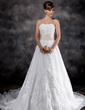 A-Line/Princess Strapless Chapel Train Organza Wedding Dress With Lace Sash Beading (002016926)