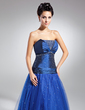 A-Line/Princess Scalloped Neck Floor-Length Tulle Mother of the Bride Dress With Ruffle Beading (008015099)