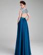 A-Line/Princess Sweetheart Floor-Length Chiffon Prom Dress With Ruffle (018019736)