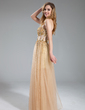 A-Line/Princess Sweetheart Floor-Length Tulle Sequined Prom Dress With Beading (018018902)