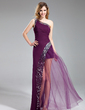 A-Line/Princess One-Shoulder Floor-Length Chiffon Prom Dress With Sequins (018019685)