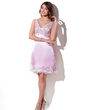 Empire V-neck Knee-Length Charmeuse Bridesmaid Dress With Beading Appliques Lace (022016091)