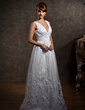A-Line/Princess V-neck Floor-Length Tulle Wedding Dress With Lace (002012597)