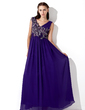A-Line/Princess V-neck Floor-Length Chiffon Prom Dress With Ruffle Beading Appliques Lace (018013105)