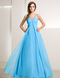 Empire V-neck Floor-Length Chiffon Holiday Dress With Ruffle Beading (020014211)