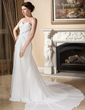 A-Line/Princess Sweetheart Watteau Train Chiffon Wedding Dress With Ruffle Lace Beading (002011577)