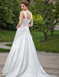 A-Line/Princess Sweetheart Chapel Train Satin Wedding Dress With Ruffle Beading (002000612)