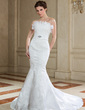 Trumpet/Mermaid Scalloped Neck Court Train Satin Wedding Dress With Lace Beading Sequins (002011645)