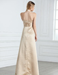 Empire Halter Floor-Length Satin Bridesmaid Dress With Ruffle (007001808)