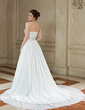 A-Line/Princess Sweetheart Court Train Chiffon Wedding Dress With Beading Feather Sequins (002004746)