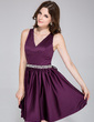 A-Line/Princess V-neck Short/Mini Satin Bridesmaid Dress With Beading (020037398)