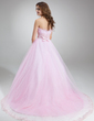 Ball-Gown Scalloped Neck Chapel Train Tulle Quinceanera Dress With Ruffle Beading Appliques Lace (021020618)