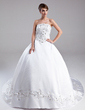Ball-Gown Strapless Cathedral Train Satin Wedding Dress With Embroidered Beading Sequins (002012905)