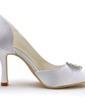 Women's Satin Stiletto Heel Closed Toe Pumps With Rhinestone (047039718)