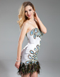 Sheath/Column Sweetheart Short/Mini Charmeuse Cocktail Dress With Beading Feather (016019157)