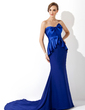 Trumpet/Mermaid Sweetheart Court Train Chiffon Charmeuse Evening Dress With Ruffle (017006701)