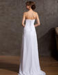 A-Line/Princess Strapless Sweep Train Chiffon Wedding Dress With Appliques Lace Cascading Ruffles (002014936)