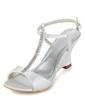 Dla kobiet Satin Obcas Koturnowy Sandały Pantofle Kliny Z Klamra Rhinestone (047011867)
